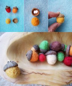 MAKE - these cute little FELT ACORNS to nestle cozily in a wooden bowl for some seasonal autumn charm