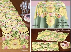 Embroidered Floral Yellow Blossom Table Linens