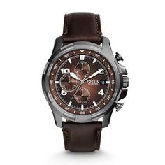 Dean Chronograph Leather Watch \u2013 Dark Brown