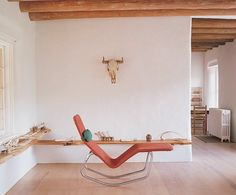 Georgia O'Keeffe's Ghost Ranch | Architectural Digest - Le Corbusier-style lounge chair in the studio is original to the house; small items were given to the museum by her friend and associate, Juan Hamilton