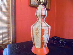 Retro Orange and White Plaster Lamp Vintage Orange by MadGirlRetro