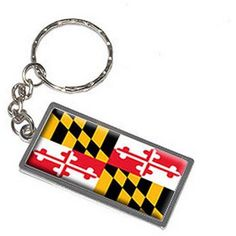 Maryland State Flag Keychain Key Chain Ring, Silver