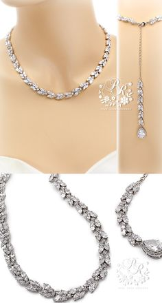 Wedding Necklace Platinum plated Teardrop by PureRainDesigns