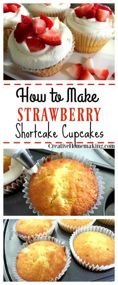 These delicious strawberry shortcake cupcakes are a fun alternative to traditional strawberry shortcake and are an easy summer treat. (Easy Summer Bake)