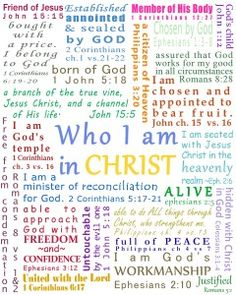 Who I am in Jesus Christ Bible Scriptures, Bible Quotes, Motivational Scriptures, Devotional Quotes, Bible Prayers, Faith Quotes, My Identity In Christ, True Identity, Online Bible Study