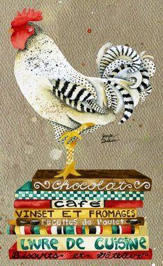 Rooster illustration art by Jennifer Lambein via www.Facebook.com/JenniferLambeinStudioPetite