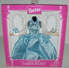 1996 BARBIE FASHION AVENUE DELUXE ~PRETTY LIGHT BLUE EVENING DRESS w LACE ~NRFB
