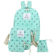 Canvas Color Spliced Animal Print Backpack - LIGHT GREEN