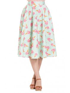 e41a00ba28 Voodoo Vixen Women s Amy - FloralIce Cream Print Skirt Cream Skirt