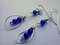 Royal Blue crystal earrings,Silver wirework Earrings,wrapp blue jade earring,artisan gemstone earrings,long dangle earrings by magyartist by magyartist on Etsy