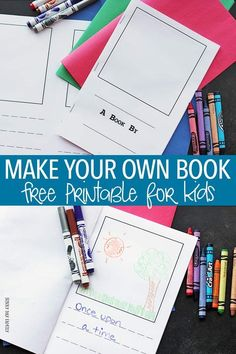 Make your own book for kids! A fun activity for book loving kids to write and illustrate their own story book. Inspired by this month's Family Dinner Book Club book - this free printable is perfect for sharing stories around the dinner table! Kindergarten Writing, Kids Writing, Writing Activities, Writing A Book, Reading Books, Playgroup Activities, Printable Activities For Kids, Narrative Writing, Fiction Writing