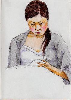 『グレーのカーディガンのお姉さん(通勤電車でスケッチ)』 This is a woman of sketch wearing a gray cardigan.