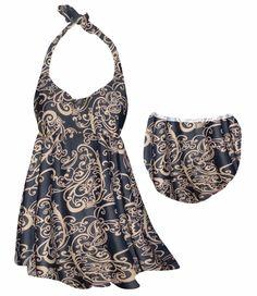 Customize Black & Tan Fancy Lines Paisley Print Plus Size Halter SwimDress Swimwear or Shoulder Strap 2pc Swimsuit 0x1x 2x 3x 4x 5x 6x 7x 8x 9x