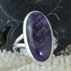 FINE JEWELLERY 925 STERLING SILVER Amethyst Lace Agate RING 6.74g DJR9690 SZ-8 #Handmade #Ring