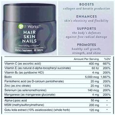 Hair Skin Nails - Boosts collagen and keratin production. Enhances skin's elasticity and flexibility. Supports the body's defenses against free radical damage. Promotes healthy cell growth, strength, and shine. Damaged Nails, It Works Global, Cell Growth, It Works Products, Nail Products, Beauty Products, Crazy Wrap Thing, Strong Nails, Thin Nails