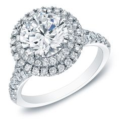 @Overstock - Auriya 14k White Gold 1 5/8ct TDW Double Halo Diamond Engagement Ring - Round diamond engagement ring14-karat white gold Click here for ring sizing guide  http://www.overstock.com/Jewelry-Watches/Auriya-14k-White-Gold-1-5-8ct-TDW-Double-Halo-Diamond-Engagement-Ring/7327247/product.html?CID=214117 $5,062.49