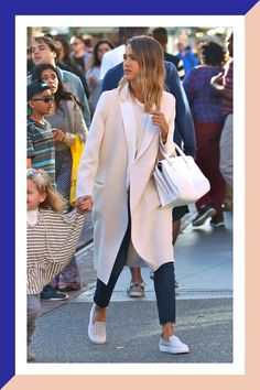 3 Ways To Wear A Basic White Tee: Hollywood Edition #refinery29  http://www.refinery29.com/white-tee-casual-outfits#slide-1  The star: Jessica AlbaThe style: It Girl
