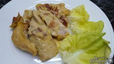 Mustáros csirkemell Bacon, Chicken, Meat, Food, Bulgur, Essen, Meals, Yemek, Pork Belly