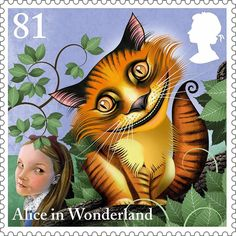 """The Cheshire Cat"" - postage stamp (UK, from the ""Alice in Wonderland"" series by award-winning illustrator Grahame Baker-Smith, issued to celebrate the anniversary of the publication of Lewis Carroll's classic children's tale Lewis Carroll, Royal Mail Stamps, Uk Stamps, Illustrations, Illustration Art, Art Postal, Go Ask Alice, Chesire Cat, Postage Stamp Art"