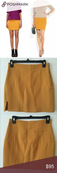 """Acne Wool Mustard Skirt Sun-flowery yellow wool-crepe, front hem slit, back faux welt pocket, exposed silver zip fastening on side, 100% wool, size FR 34, 26.5""""waist, 34"""" hip, 15.5"""" length all measurements are approximates. Like new, I do not believe I have worn it. Sorry about the wrinkles :s I do negotiate on price😁✌🏻️ Acne Skirts Mini"""
