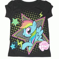 If your little one is a fan of Rainbow Dash then they know that Rainbow Dash is the fastest pony in all of Equestria.  Now you can dress your little one up in this fun My Little Pony Rainbow Dash Stars Toddler Black T-shirt.      Black     50% Cotton / 50% Polyester     Toddler Fit     Officially Licensed  #mylittlepony #brony