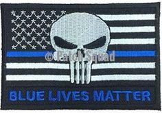 Patch Squad Men's US Flag Punisher Thin Blue Line / Blue Lives Matter Embroidered Patch