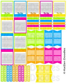 Neon - 42 PRINTABLE Life Planner Checklist Blank Flag Tags Box Tags Erin Condren Stickers Filofax Digital Download - pinned by pin4etsy.com
