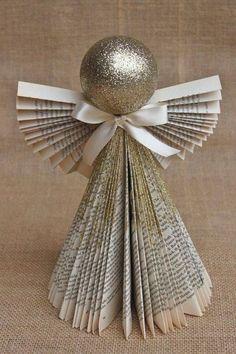enfeites de natal anjo de jornal