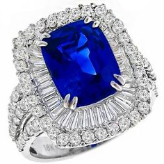 Estate 4.50ct Cushion Cut Ceylon Sapphire 2.20ct Round & Baguette Cut Diamond 18k White Gold Ring - See more at: http://www.newyorkestatejewelry.com/rings/vintage-4.50ct-sapphire-2.20ct-diamond-ring-/24850/1/item#sthash.pFoFtvLW.dpuf