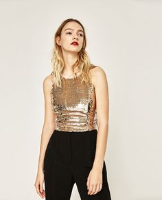Image 2 of TOP WITH SEQUINS from Zara