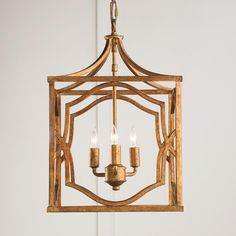 Small Modern Fretwork Frame Lantern Use two or more over the kitchen island. A modern fretwork trellis frame in antiqued gold adds Chippendale style from the foyer to the library. Can be installed close to the ceiling or dropped as a pendant.