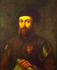 A 27 de Abril de 1521, Fernão de Magalhães (1480-1521), que se notabilizou por ter organizado a primeira viagem de circum-navegação, morre em combate na Ilha de Mactan nas Filipinas. Retrato anónimo de Fernão de Magalhães (sé. XVI ou XVII). The Mariner's Museum Collection, Newport, USA.