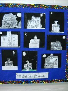 I do this lesson with fifth grade students and have had great success and interest on their part. I introduce Victorian Houses as a style. Projects For Kids, Art Projects, Victorian Artwork, Victoria Art, Art School, School Life, School Stuff, School Ideas, Nutcracker Ornaments