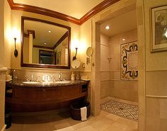 walk in shower = NO Door. Love the Tile Pattern Shown Here. Also Sink & Wood Crown Molding