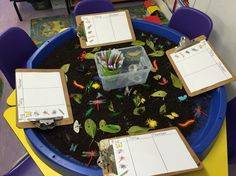 Small world bugs in soil with leaves. Cross curricular link: Understanding the World and Maths. Children count the bugs, recording tally and numeral.