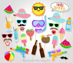 Printable Photo Booth Party Props - Set of 50 props and colorful unique props for Summer Time party! This listing is for a printable photo prop set, a great option for the DIYers Flamingo Party, Festa Party, Luau Party, Summer Pool Party, Summer Beach, Animation Soiree, Photo Booth Party Props, Beach Photo Props, Tropical Party