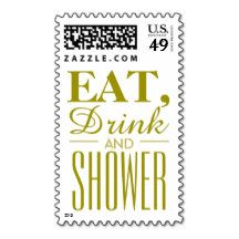 Eat, Drink and Shower Gold Postage Stamps