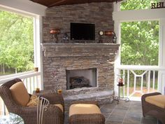 corner fireplace for a screened in porch
