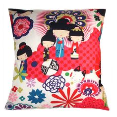 HAND MADE RETRO MODERN COTTON CUSHION COVER WITH A FABULOUS RETRO MODERN JAPANESE DOLLS DESIGN WITH FLORAL DETAILComes With Cushion inner pad included thank you.Perfect Gift for weddings, Gift for kids, for girls bedrooms, and studies and goes brilliantly with the, retro modern, eames style chairs, in any room in our main shop. Suitable for Living Room, Bedroom, Kitchen, Dining Room, Home Office/Study, Conservatory, Hallway, Porch, Patios. A fun stylish colour pop works in many rooms from…