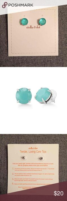 Stella & Dot Janice Earrings Authentic Stella Dot Janice studs aqua silver earrings. These earrings are aqua stones faceted in silver settings. 12 mm studs, feather weight, surgical steel posts. New in card Stella & Dot Jewelry Earrings
