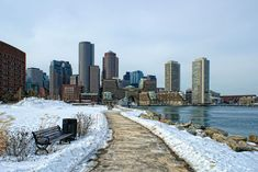 Picture of view of boston harbor and rowes wharf and skyscraper buildings in south boston massachusetts in winter. stock photo, images and stock photography. South Boston, Boston Harbor, Boston Massachusetts, San Francisco Skyline, Skyscraper, New York Skyline, Wedding Photos, Stock Photos, Winter
