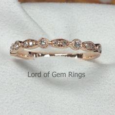 Pave Diamond Wedding Band Half Eternity Anniversary Ring 14K Rose Gold SI/H…