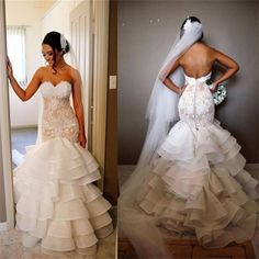 Elegant Lace Tiered Open Back Strapless Mermaid Unique Custom Wedding Dress , PD0228