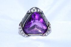Amazon.com: Designer Inspired Women or Teen Purple Stones & Burnished Silver Ring: Jewelry