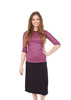 6bce1263c6 Ella Mae Women s 2 Piece Modest Swimsuit with 3 4 sleeve swim shirt and  Skirt with Attached Leggings at Amazon Women s Clothing store