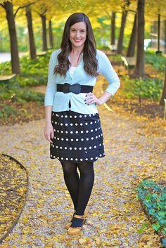 polkadot skirt & yellow shoes -- how cute!
