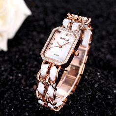$15.00 WEIQIN Brand Luxury Antique Chainlink Bracelet Watch Rhinestone Bezel Analog Quartz Fashion Watches for Women #Luxury #Antique #Chainlink #Bracelet #Watch Rhinestone #Fashion #Watches