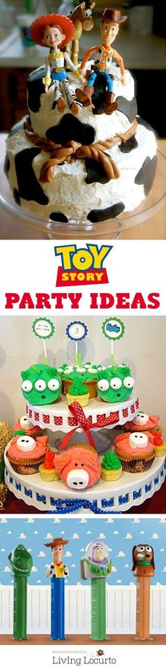 Toy Story Party Ideas for kids. Fun Disney birthday party ideas featuring Woody, Buzz Lightyear and the gang! Amazing cakes, free printables and games. Cumple Toy Story, Festa Toy Story, Toy Story Party, Toy Story Birthday, Birthday Party Games, Boy Birthday, Birthday Ideas, Cake Birthday, Birthday Wishes