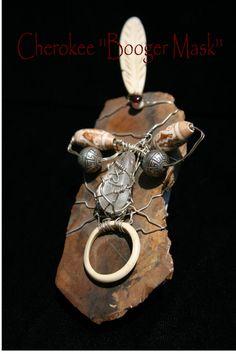 Cherokee  Booger  Mask  Hand Sculpture/ Wall by BlindFaithArt