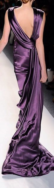 Gorgeous low back draped purple gown - -Get $100 worth of beauty samples